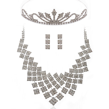 Elegant Alloy With Clear Rhinestones Wedding Bridal Jewelry Set Including Necklace, Earrings And Tiara