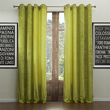 Rod Pocket Grommet Top Tab Top Double Pleat Two Panels Curtain Modern Solid Living Room 55% Cotton Chenille/45% Rayon Rayon Material
