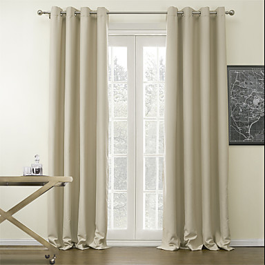 Blackout Curtains Drapes Living Room Solid Colored Polyester