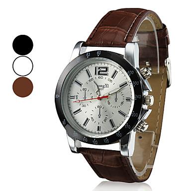 Herrn Armbanduhr Quartz Armbanduhren für den Alltag PU Band Analog Charme Kleideruhr Schwarz / Weiß / Braun - Weiß Schwarz Braun