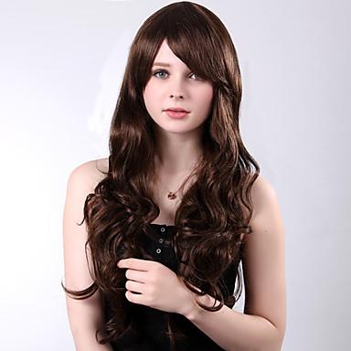 Synthetische Perücken Locken Stufenhaarschnitt / Mit Pony Synthetische Haare 25 Zoll Perücke Damen Kappenlos