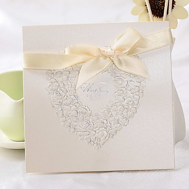 Üstten Katlanır Düğün Davetiyeleri Davet Kartları Klasik Stil Çiçek Tarzı İnci Kağıdı 6