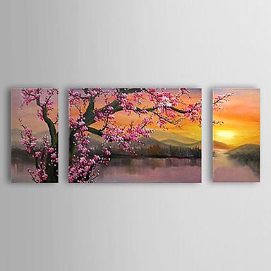 billige Trykk-Hang malte oljemaleri Håndmalte - Blomstret / Botanisk Klassisk / Tradisjonell Lerret / Stretched Canvas