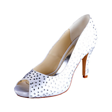 Gorgeous Satin Stiletto Heel Peep Toe Pumps With Rhinestone Wedding Shoes(More Colors)