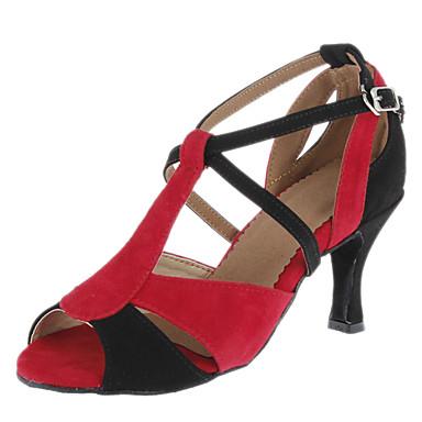 Women's Latin Ballroom Suede Heel Buckle Customized Heel Red Customizable