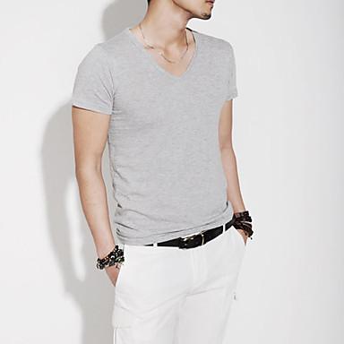 Herren V-Neck Cotton Blend Short Sleeve Länge Freizeit Sport T-Shirt (Grau)