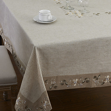 Mélange Lin / Coton Carré Nappes de table Fleur Décorations de table