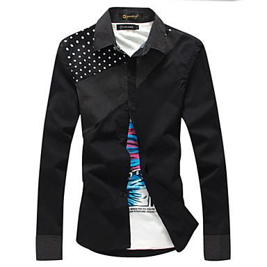 Men's Soft Dots Pattern Long Sleeve Shirt