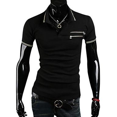 Herren V-Neck Baumwolle Kurzarm Länge Freizeit Sport T-Shirt (weiß)