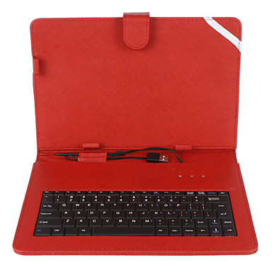 10 Inch Mesh Stripe Pattern PU Leather Case with USB Keyboard and Stand