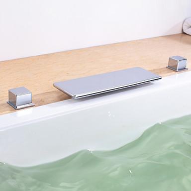 Moderní Římská vana Vodopád Keramický ventil Se třemi otvory Dvěma uchy tři otvory Pochromovaný, Vanová baterie
