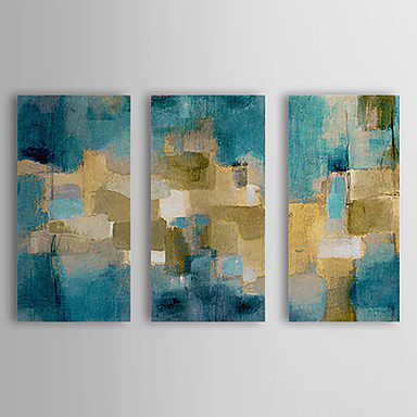 Hand-Painted Abstract Horizontal,Realism Modern Three Panels Canvas Oil Painting For Home Decoration