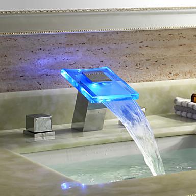 banyo lavabo bataryası - şelale krom yaygın üç delik / iki kolları üç delik / pirinç led