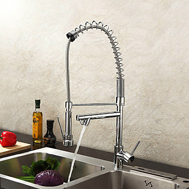 Kitchen Faucet One Hole Chrome Pot Filler Deck Mounted Contemporary Single Handle