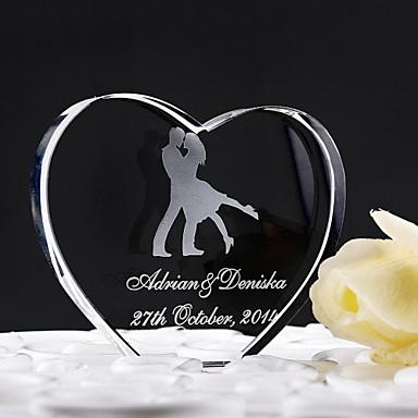Pasta Üstü Figürler Klasik Tema Kalpler Kristal Düğün Yıldönümü ile Hediye Kutusu