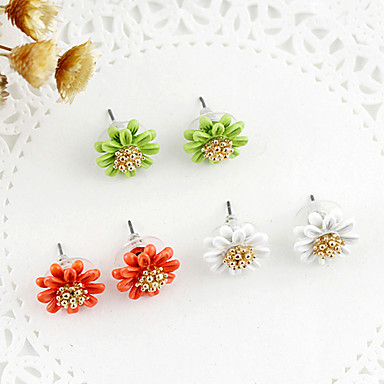 Stud Earrings Pearl Alloy Flower Purple Yellow Green Blue Pink Jewelry Party Daily