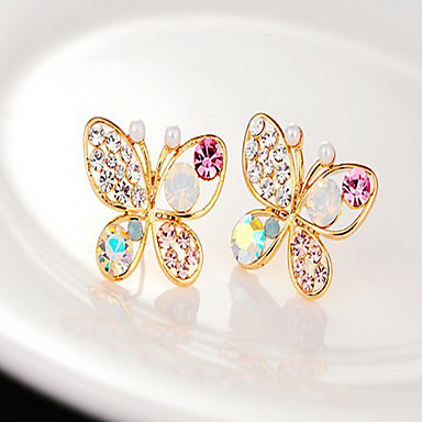 Damen Schmetterling Perle Strass Ohrstecker - Golden Tier Ohrringe Für Party Alltag
