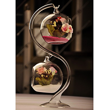 cheap Table Centerpieces-Clear Glass Vase With Two Hanging Ball