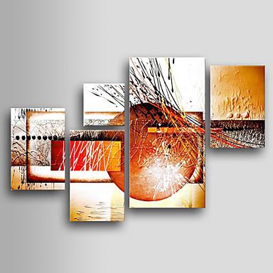 Hang-Boyalı Yağlıboya Resim El-Boyalı - Soyut Klasik Geleneksel Beş Panelli