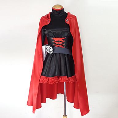 Esinlenen RWBY Ruby Rose Anime Cosplay Kostümleri Cosplay Takımları Kırk Yama Uzun Kollu Elbise / Korse / Kemer Uyumluluk Kadın's Cadılar Bayramı Kostümleri / Saten