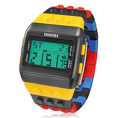 Erkek Bilek Saati Dijital saat Dijital Alarm Takvim Kronograf Kauçuk Bant Dijital İhtişam Çok-Renkli - Siyah / Sarı İki yıl Pil Ömrü / LCD / Maxell CR2025