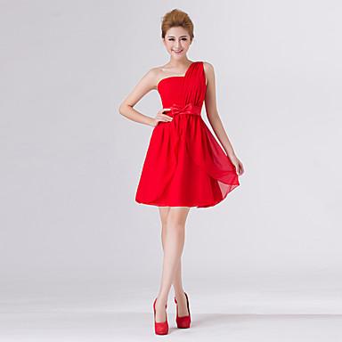 d3b18b1b00 Qiaorui Elegáns Egy váll Rövid Chiffon esküvői ruha / koszorúslány ruha ( piros)
