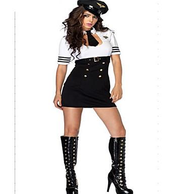 Uniformi Costumi Cosplay Per donna Uniformi da hostess Halloween Carnevale Capodanno Feste / vacanze Poliestere Completi Bianco / Nero Tinta unita