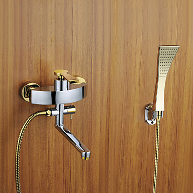 Contemporary Wall Mounted Handshower Included with  Ceramic Valve Three Holes Single Handle Three Holes for  Chrome , Shower Faucet