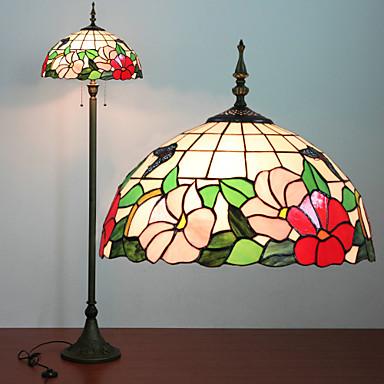 Cvjetni uzorak podna lampa, svjetlo 2, Tiffany Smola Staklo Slikarstvo Process