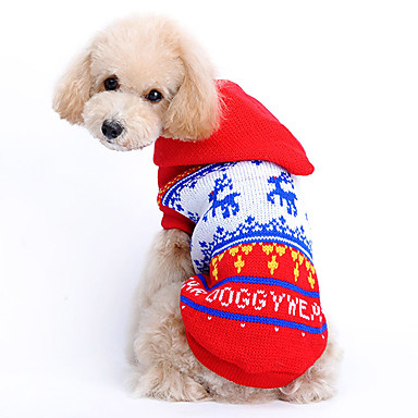 Cat Dog Sweater Hoodie Dog Clothes Cute Christmas Reindeer Red Costume For Pets