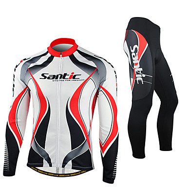 SANTIC Men s Long Sleeve Cycling Jersey with Tights - Red   White Bike  Jacket Tights Clothing c713893f2