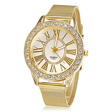 Damen Quartz Armbanduhr Strass Imitation Diamant Legierung Band Blume Glanz Kleideruhr Modisch Gold