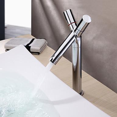 Contemporary Centerset Ceramic Valve One Hole Two Handles One Hole Chrome, Bathroom Sink Faucet