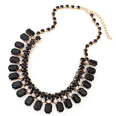 Damen Diamantimitate Ketten  -  Quaste Europäisch Quadratisch Geometrische Form Weiß Schwarz Grün Modische Halsketten Für Hochzeit Party