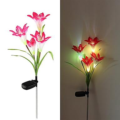 billige Utendørsbelysning-1pc solenergi lilje blomst ledet lys hage hage plen utsikt lampe