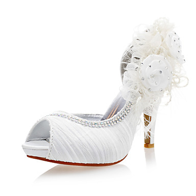 Women's Shoes Satin Stiletto Heel Peep Toe Pumps With Flowers Wedding Shoes More Colors Available