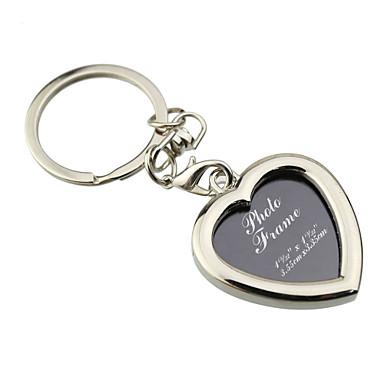 Individuelle Gravur Geschenk Kreativ Herzform Fotorahmen Schlüsselanhänger (Satz von 6)