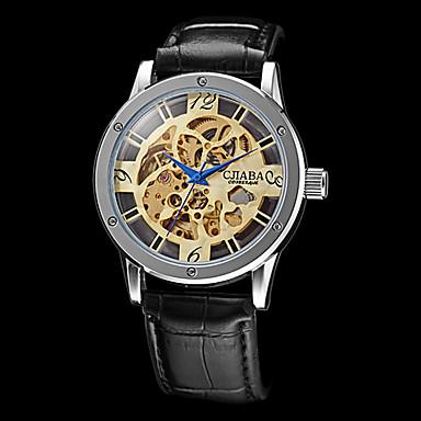 Bărbați Ceas de Mână ceas mecanic Mecanism automat Gravură scobită PU Bandă Negru