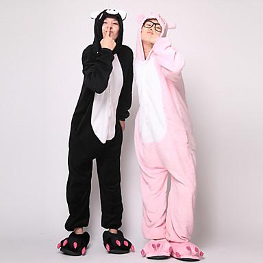 Pijama Kigurumi Purcel / Porc Pijama Întreagă Costume Flanel Lână Negru Cosplay Pentru Adulți Sleepwear Pentru Animale Desen animat