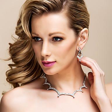 brille strass tchèque avec l'alliage de mariage bijoux plaqués ensemble, y compris le collier et boucles d'oreilles