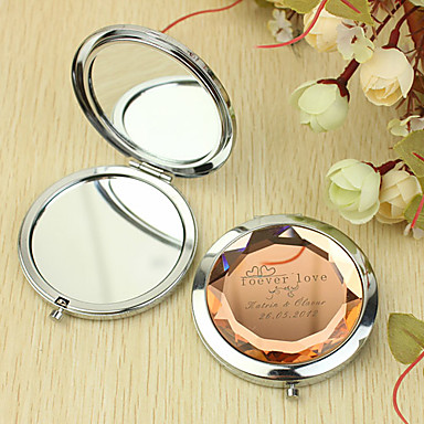 Personalized Gift Forever Love Pattern Chrome Compact Mirror