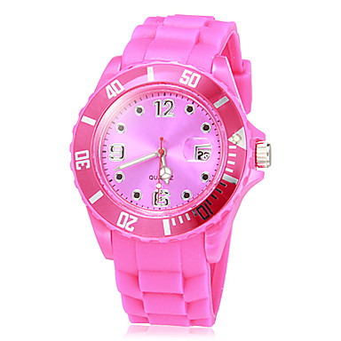 Women's Quartz Wrist Watch Casual Watch Plastic Band Candy color Casual Fashion Black White Green Rose