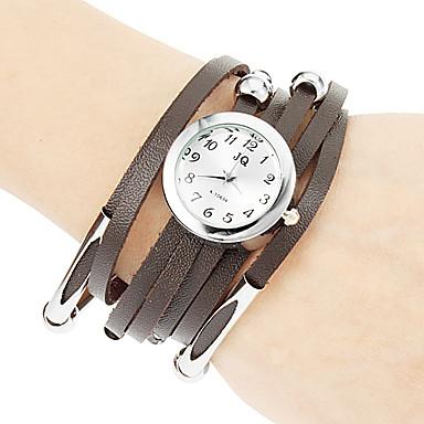 Women's Quartz Bracelet Watch Hot Sale PU Band Bohemian Fashion Black White Red Brown