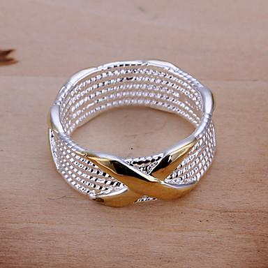billige Motering-Dame Band Ring Statement Ring X-ring damer Europeisk Sølvplett Motering Smykker Gylden Til Fest Daglig Avslappet 6 / 7 / 8 / 9
