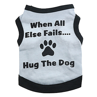 Dog Shirt / T-Shirt Dog Clothes Letter & Number Gray Cotton Costume For Pets
