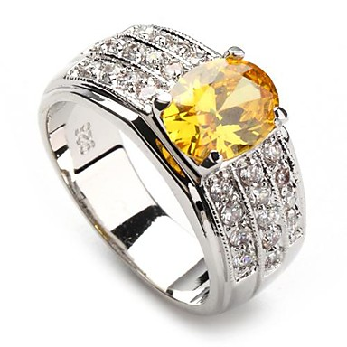 Women's Statement Ring - Silver Plated Fashion 6 / 7 / 8 Yellow For Party / Daily / Casual / Zircon