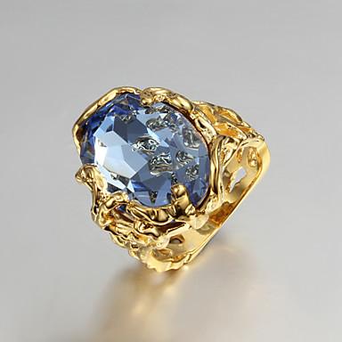 Χαμηλού Κόστους Μοδάτο Δαχτυλίδι-Γυναικεία Πασιέντζα Οβάλ Δακτύλιος Δήλωσης Δαχτυλίδι αρραβώνων Cubic Zirconia Επιχρυσωμένο 18Κ Χρυσό Love Δαχτυλίδι κοκτέιλ κυρίες Πολυτέλεια Μοδάτο Δαχτυλίδι Κοσμήματα Μπλε Για