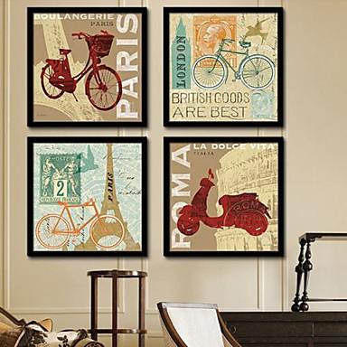 Kanvas v rámu Set v rámu Architektura Wall Art, PVC Materiál s rámem Home dekorace rám Art Obývací pokoj Ložnice Kuchyň Jídelna Kancelář
