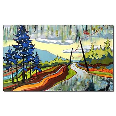 Mână de ulei pictate Pictura Peisaj desen animat Road cu cadru întins