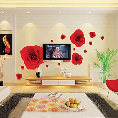 1buc roșu romantic colorat trandafir autocolant perete